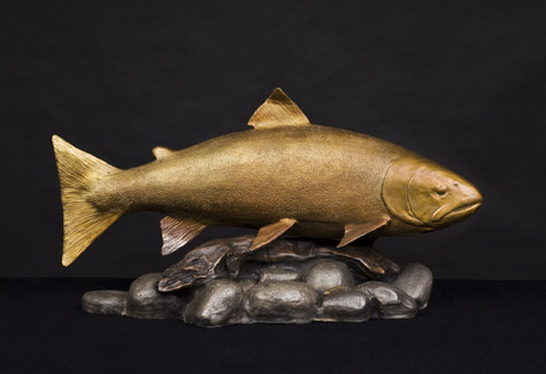 Steelhead Trout on Cobble Sculpture