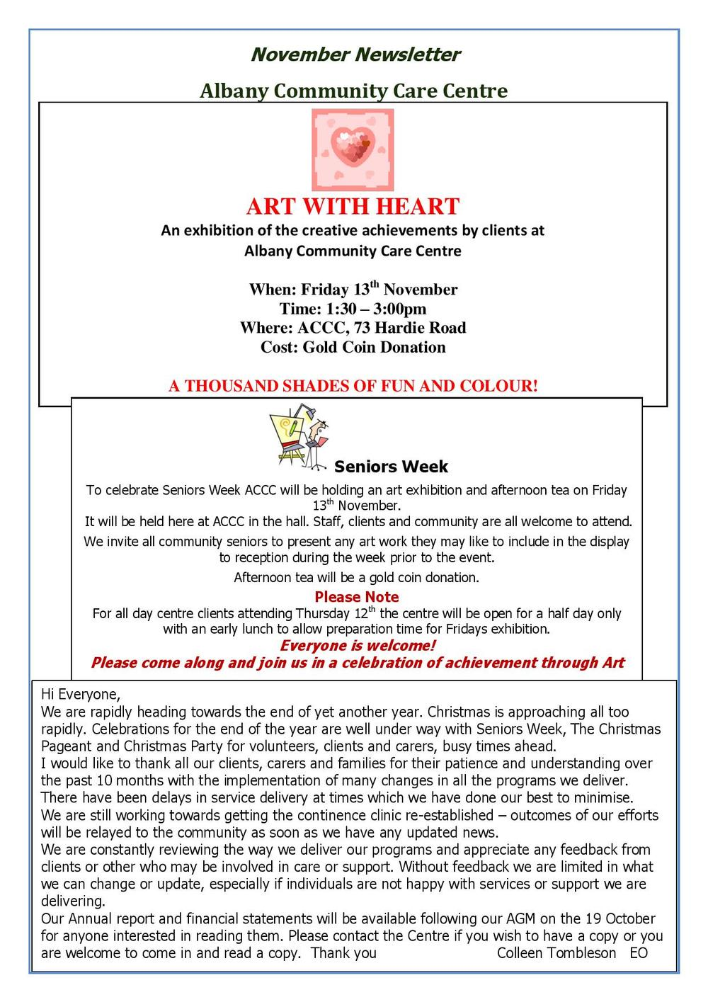 Albany Community Care Centre August 2015 Newsletter