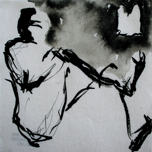 He, she, it 2010. Ink on paper, 15x15 cm
