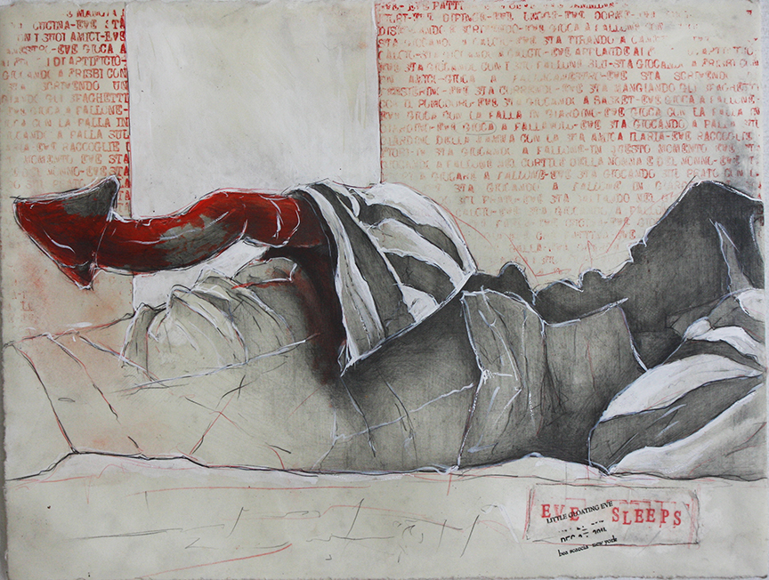 Eve sleeps 2014, pencils, gesso and  wax on paper cm 28x38   (Private Collection)