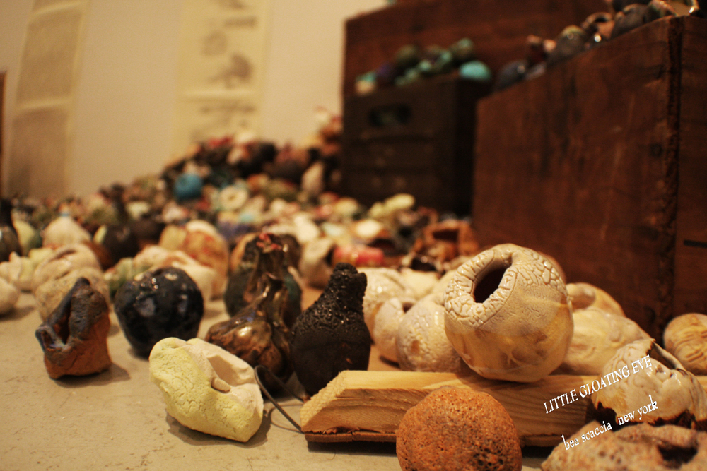 "2014 Gallery View, Toshiaki Noda's installation of ceramics ""Eve's Flowers"""
