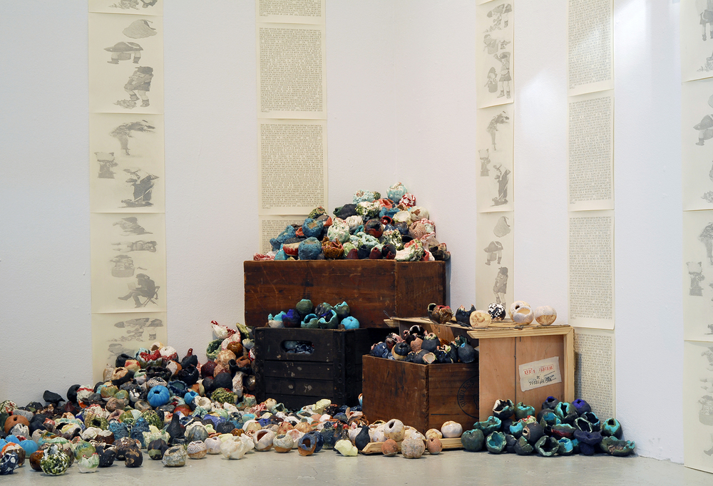 "2014 Gallery View, Toshiaki Noda's installation of ceramics ""Eve's Flowers"". Photos by Samantha Wrigglesworth"
