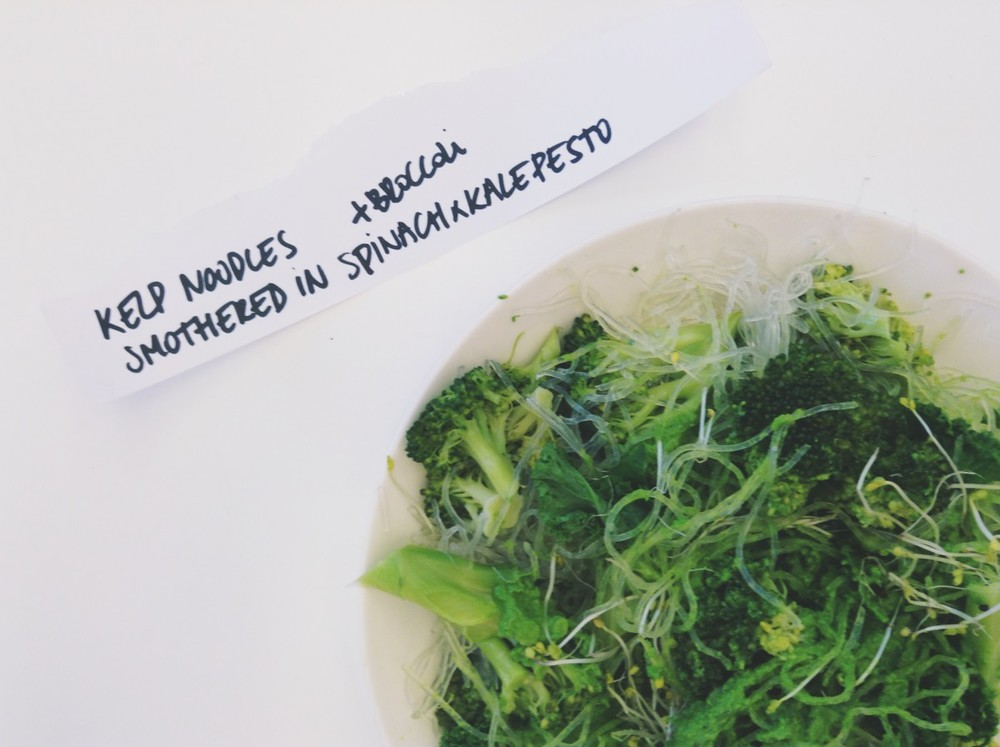 kelp noodles with spinach kale pesto
