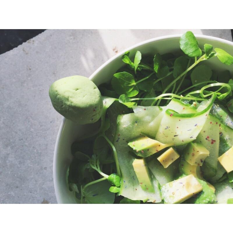 Watercress Salad with Avocado and Wasabi Cucumber Dressing