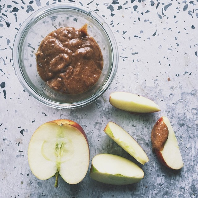 raw salty date caramel paste with apples