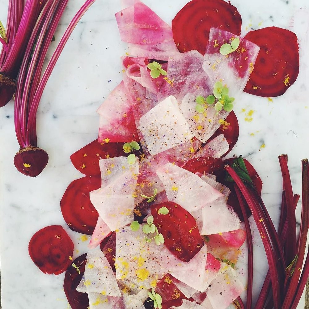 Pink Ribbon Beetroot Daikon Spaghetti with Thyme Honey