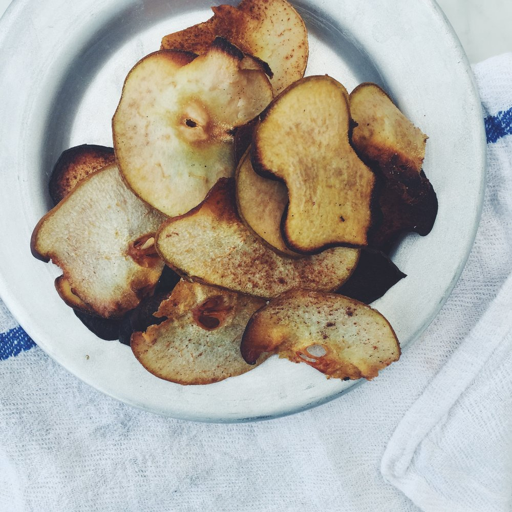 cinnamonpear chips dipped in dark chocolate feedyourglow