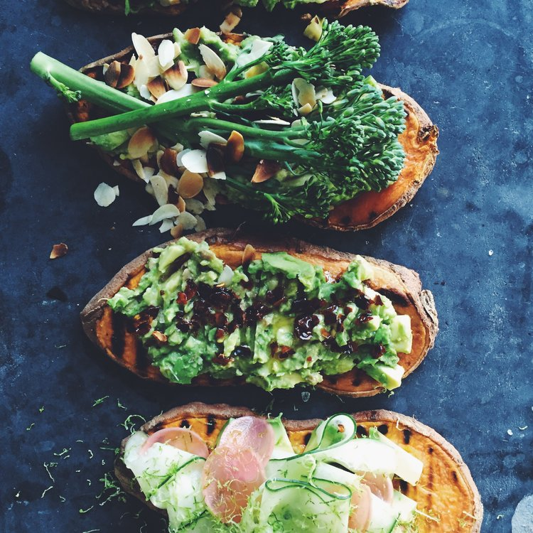 Sweet PotatoToast - SWEET POTATO+ ALMOND BUTTER+ AVOCADO+ GRILLED VEGGIES