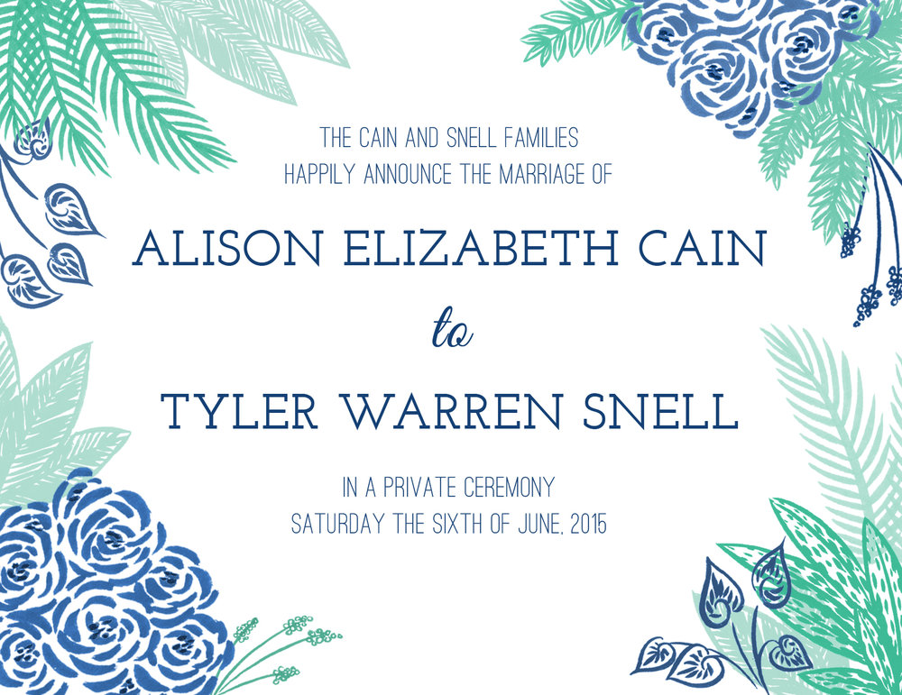 Cain + Snell Wedding Invitation