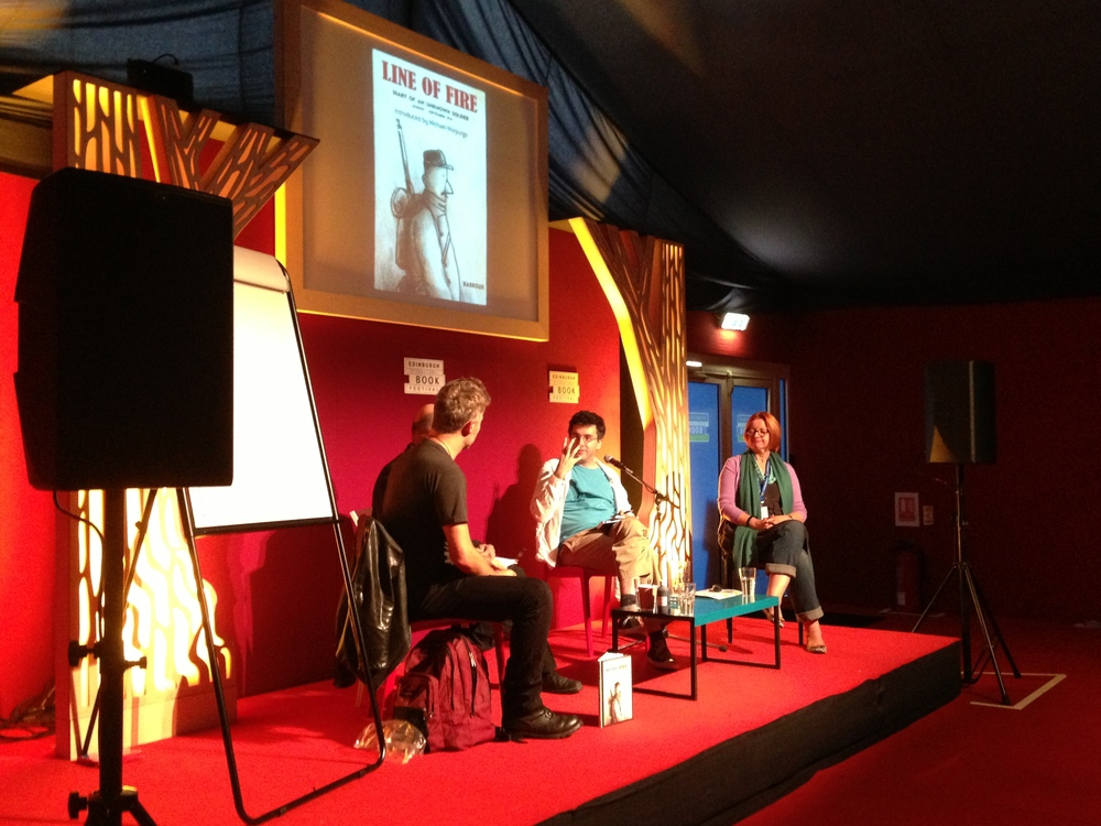 Barroux on stage with fellow author Cathy Brett and chair Daniel Hahn at the Edinburgh International Book Festiva