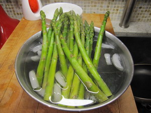 ADD ASPARAGUS TO ICE BATH AFTER 2 MIN