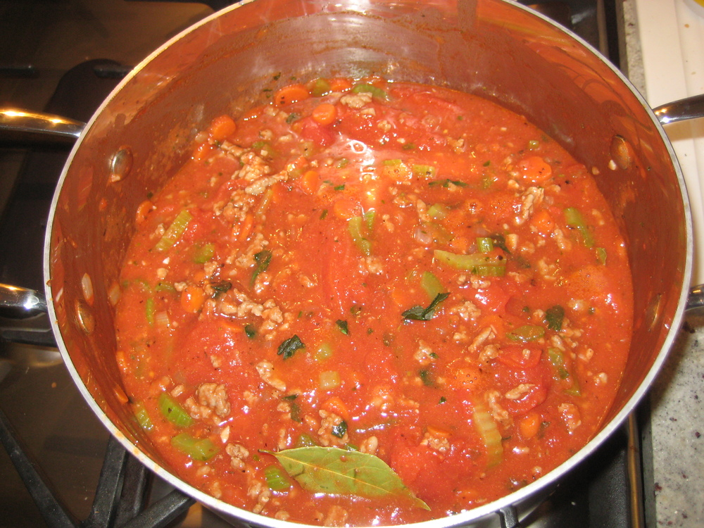 WHEN THE ONIONS ARE TRANSLUCENT, ADD TOMATOES, BASIL & 2 TABLESPOONS OF TOMATO PASTE - COOK FOR 25 MIN.