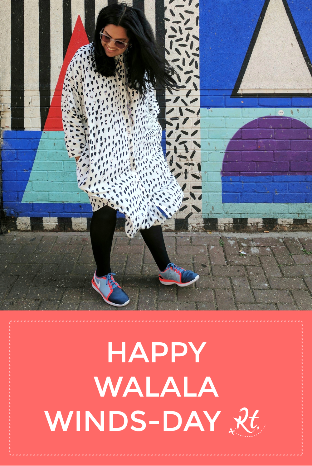Monki shirt dress matching Camilla Walala's Shoreditch mural