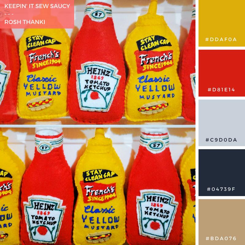 Colour-Palette-Keepin-it-sew-saucy-rosh-thanki-Lucy-Sparrow-felt-condiment-bottles-lawrence-alkin-gallery