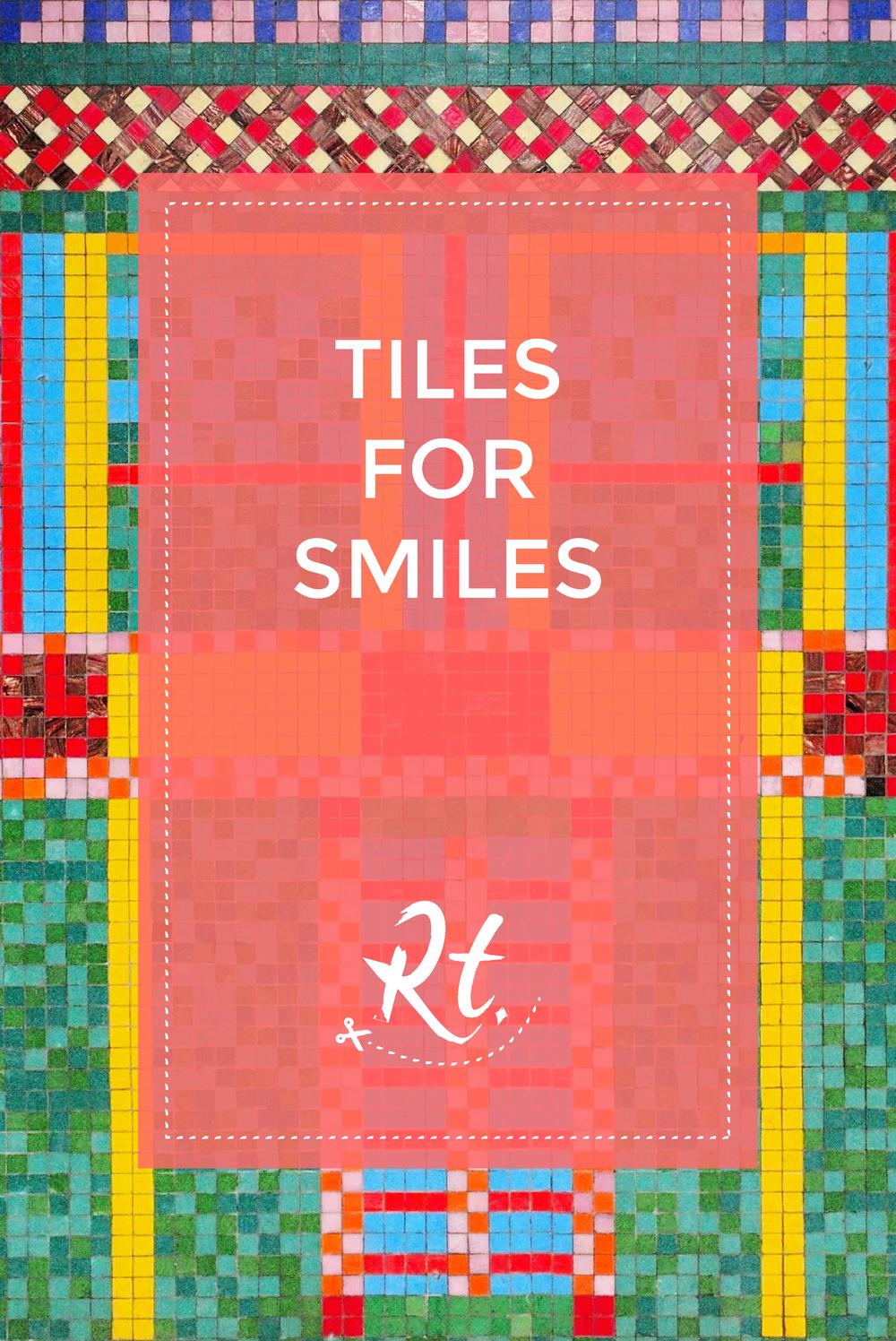 Tiles for Smiles by Rosh Thanki, Eduardo Paolozzi tiles at Tottenham Court Road tube station