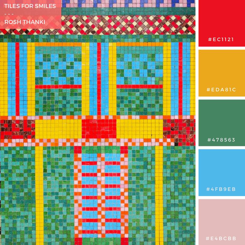 Colour Palette, Tiles for Smiles by Rosh Thanki, Eduardo Paolozzi tiles at Tottenham Court Road tube station