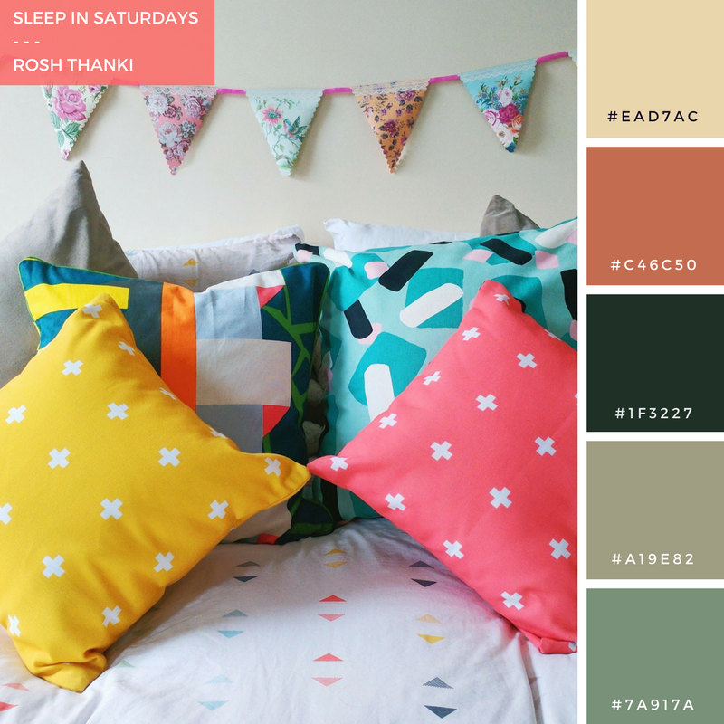 Colour Palette, Sleep in Saturdays by Rosh Thanki, brightly coloured next bed sheets, made dot com, h&m home cushions