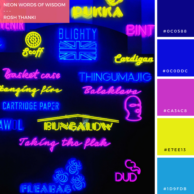Colour Palette, Neon Words of Wisdom by Rosh Thanki, neon typography of army chat of military language