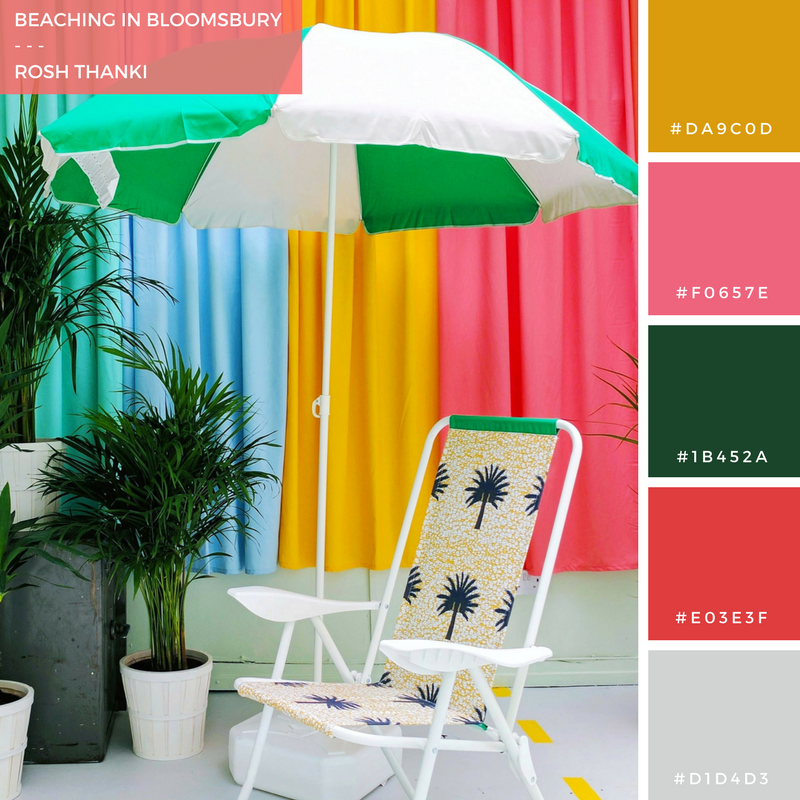 Colour Palette, Beaching in Bloomsbury by Rosh Thanki, Yinka Ilori interior design at Plinth Gallery