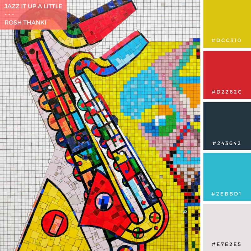 Colour Palette for Jazz It Up A Little by Rosh Thanki, Eduardo Paolozzi saxophone tiles at Tottenham Court Road station