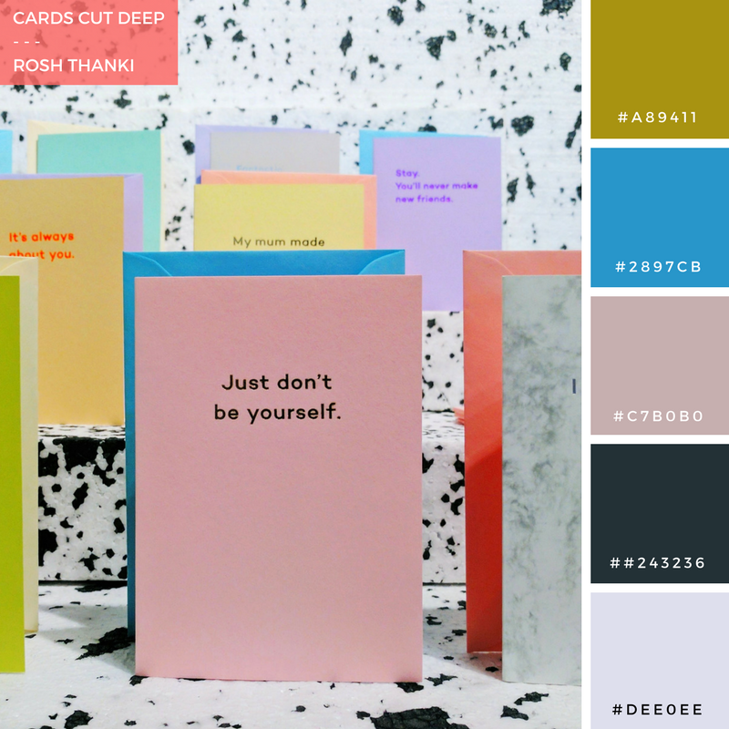 Colour Palette for Cards Cut Deep by Rosh Thanki, Mean Mail stationery card launch at Exposure London
