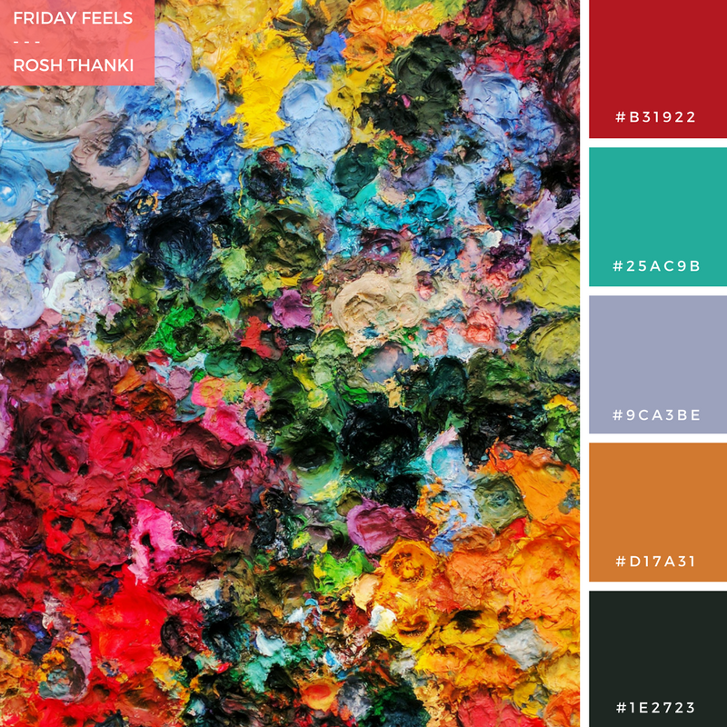 Colour Palette for Friday Feels by Rosh Thanki, Secundino Hernández's paint palette canvas at Victoria Miro Gallery