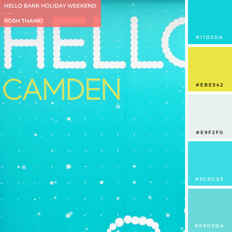 Colour Palette for Hello Bank Holiday Weekend by Rosh Thanki, EE Advert in Camden Town
