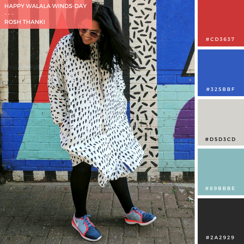 Colour Palette for Happy Walala Winds-day, Monki shirt dress in front of Camille Walala wall