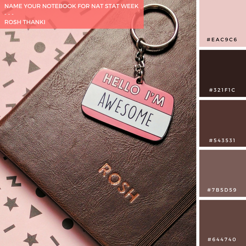 Colour Palette for Name Your Notebook for Nat Stat Week, typo monogrammed notebook