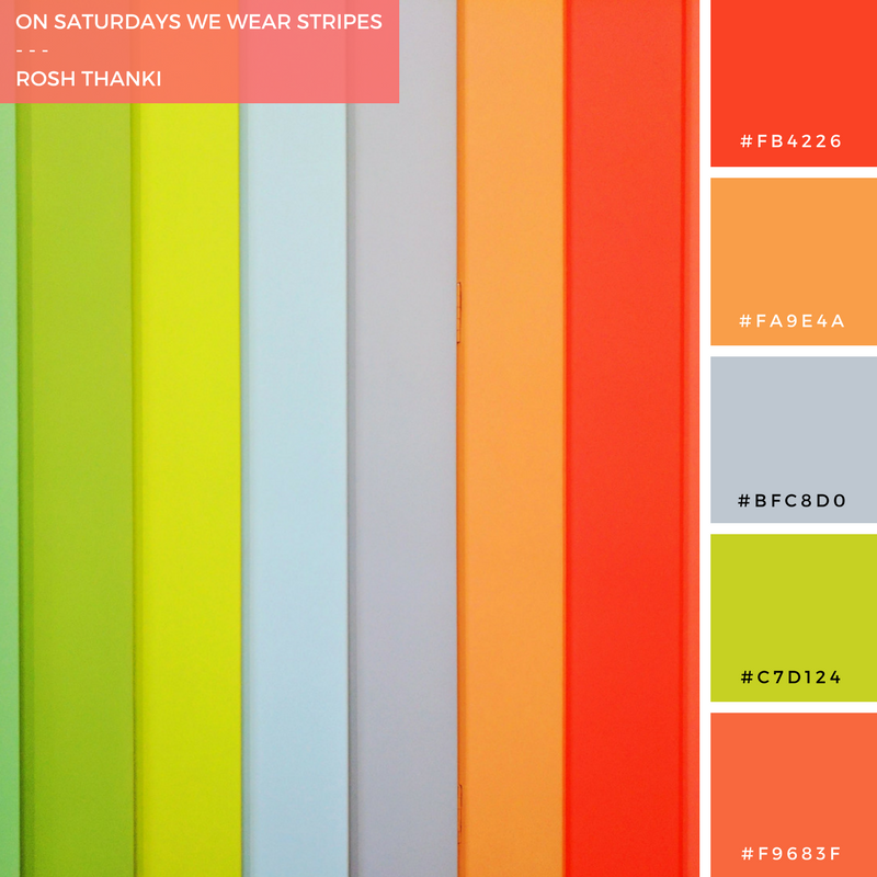 Colour Palette for On Saturdays We Wear Stripes by Rosh Thanki, J W Anderson stripe interior wall