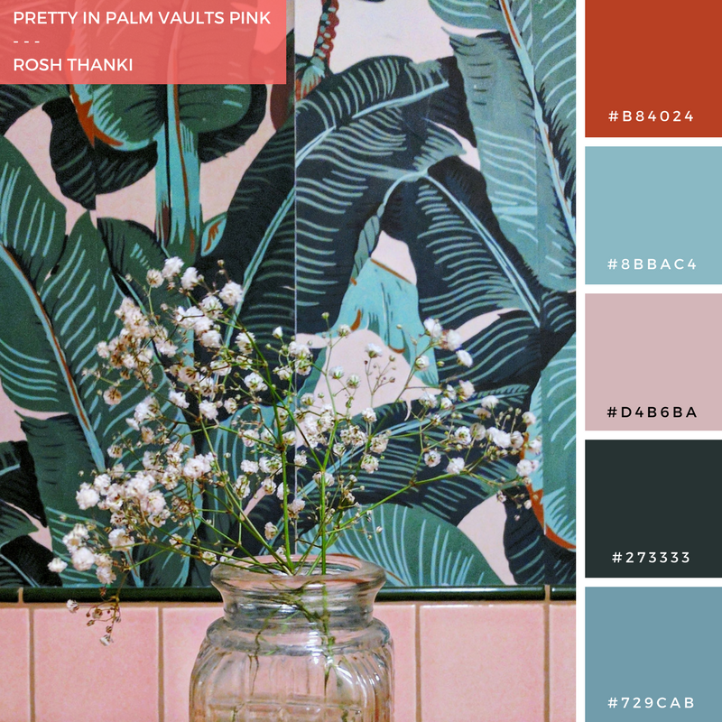 Colour Palette for Pretty in Palm Vaults Pink by Rosh Thanki, bathroom interior design inspiration