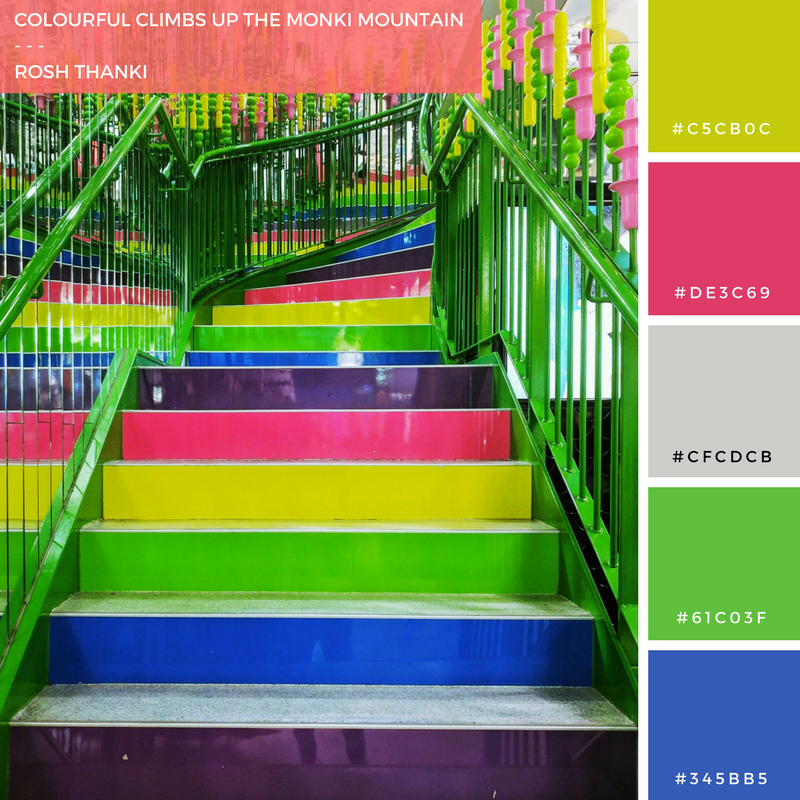 Colour Palette for Colourful Climbs up the Monki Mountain by Rosh Thanki, staircase at Carnaby Street