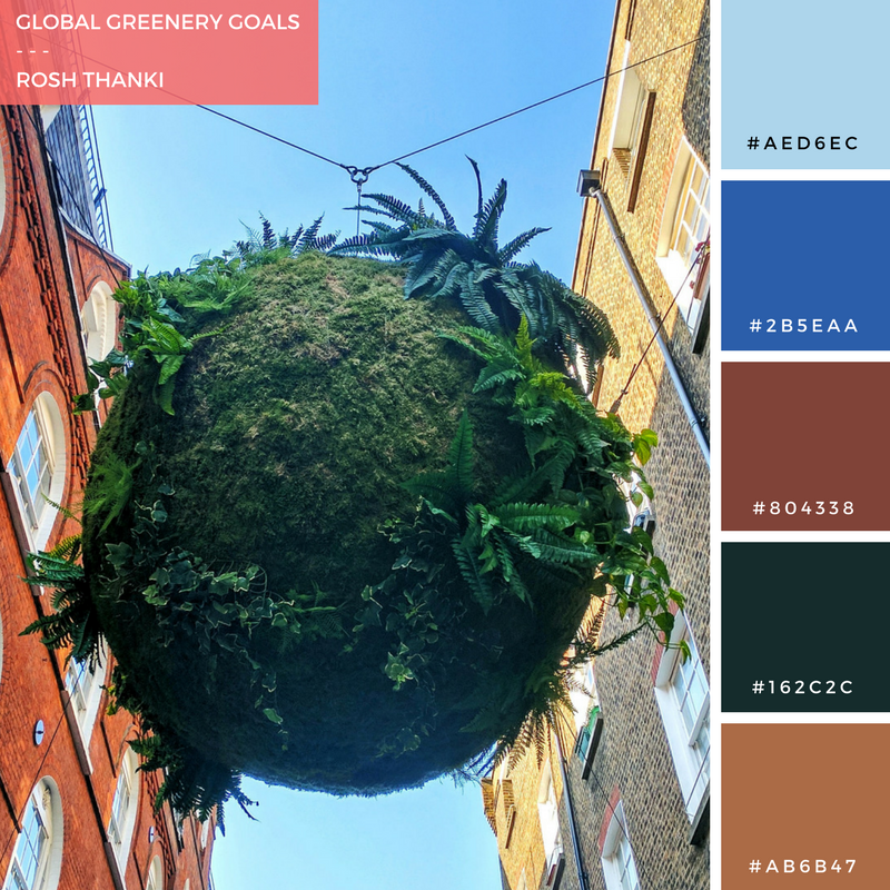 Colour Palette for Global Greenery Goals by Rosh Thanki, Anna Garforth art installation at St Christopher's Place