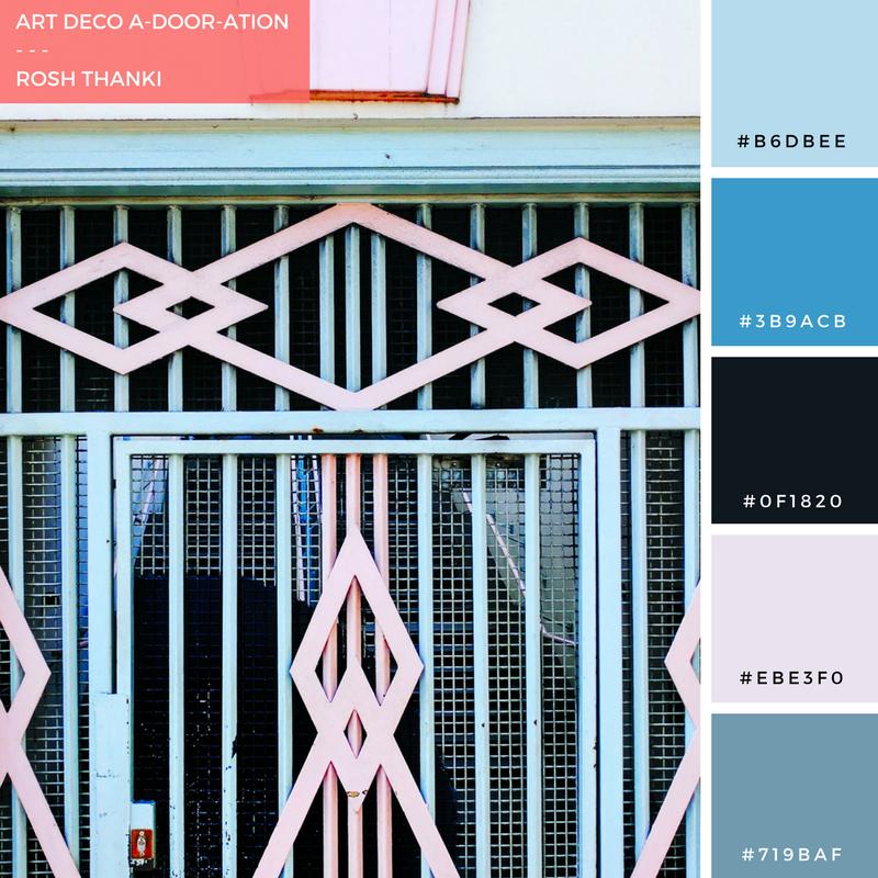 Colour Palette for Art Deco A-Door-ation by Rosh Thanki, Hackney door