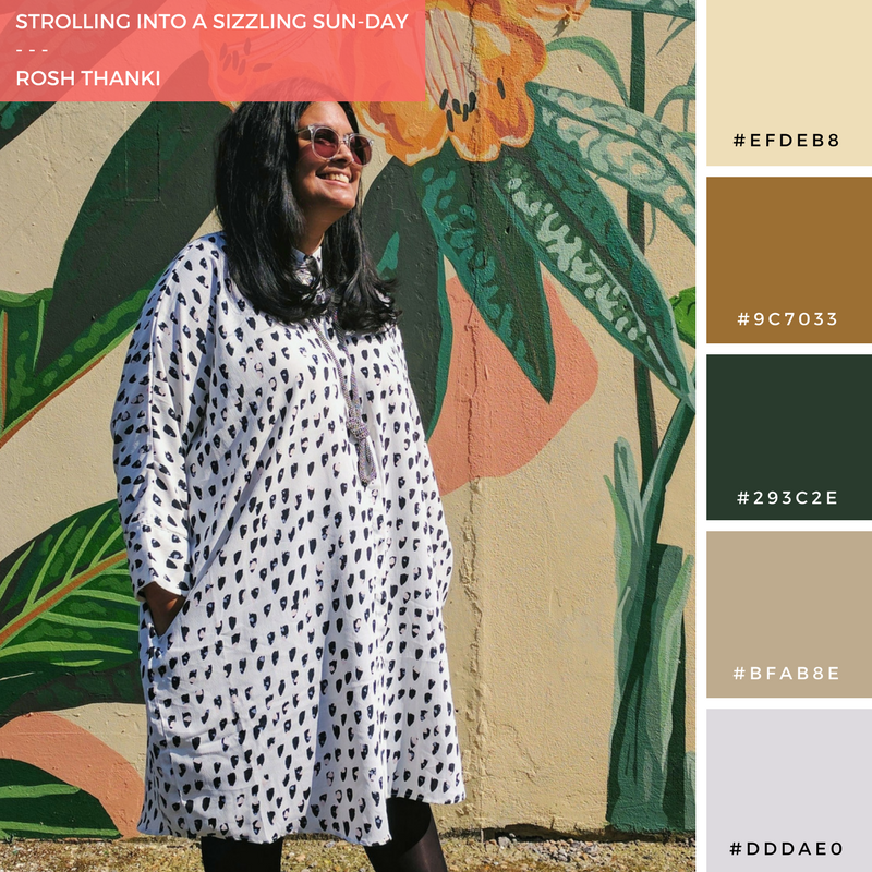 Colour Palette for Strolling into a Sizzling Sun-Day by Rosh Thanki, Monki shirt dress in front of Hixxy street art