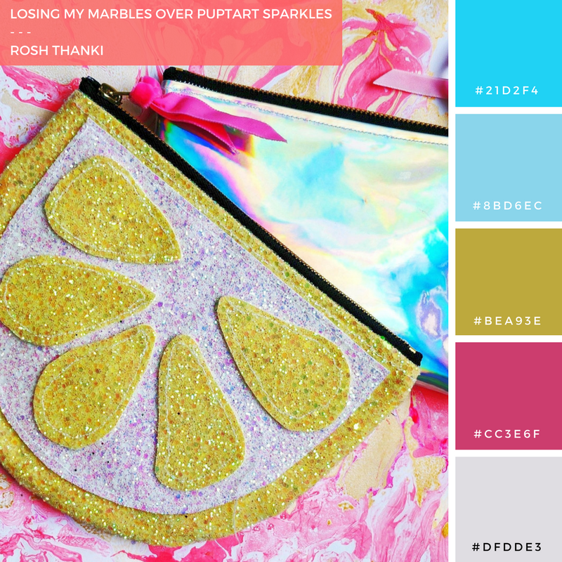 Colour Palette for Losing My Marbles Over Puptart Sparkles by Rosh Thanki, marbling paper and handbag