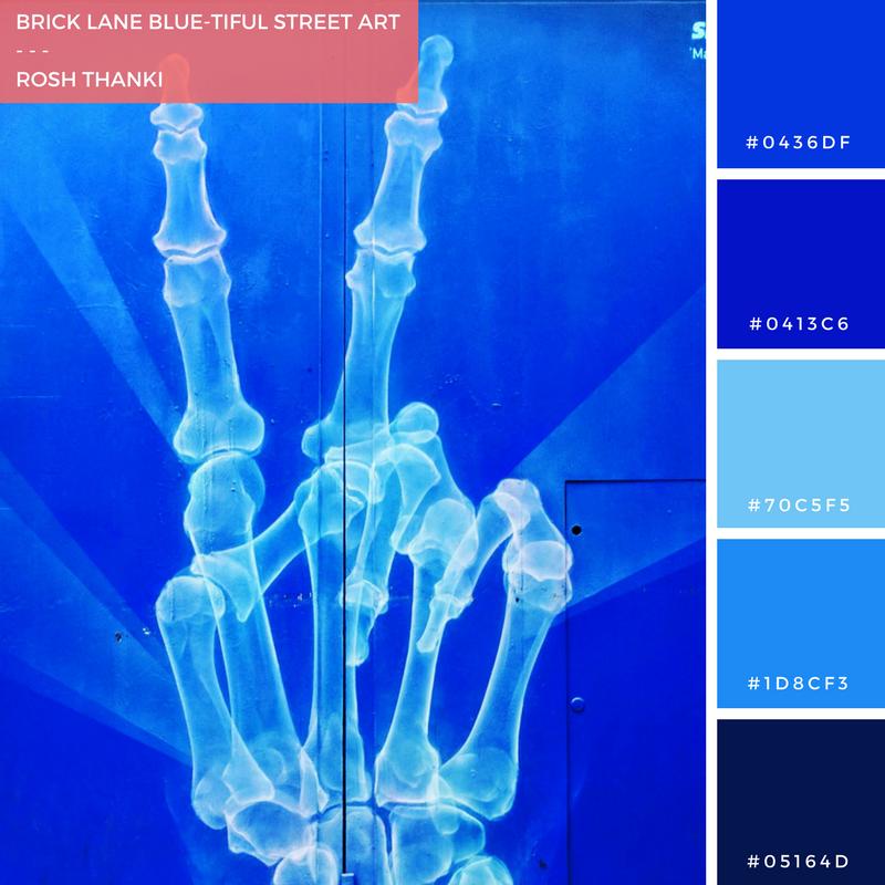 Colour Palette for Brick Lane Blue-tiful street art by Rosh Thanki, Shock 1