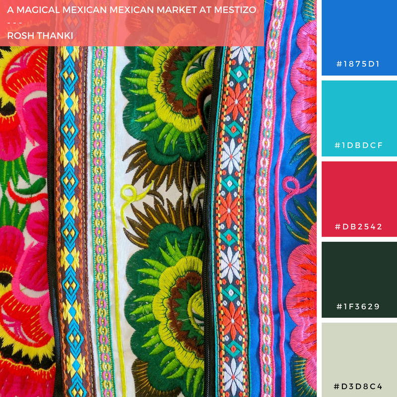 Colour Palette for A Magical Mexican Market at Mestizo by Rosh Thanki, colourful Mexican bags