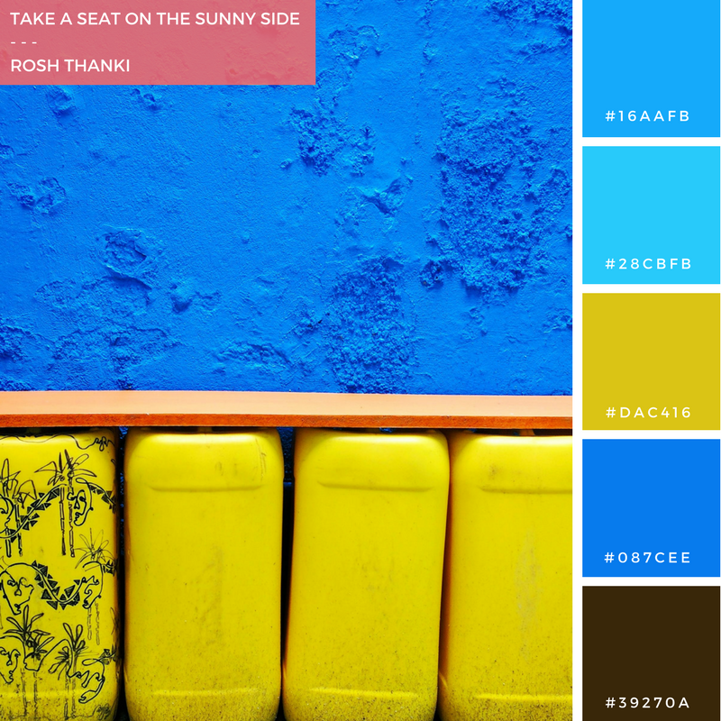 Colour Palette for Take a Seat on the Sunny Side by Rosh Thanki, Yinka Ilori designed colourful bench at Plinth UK