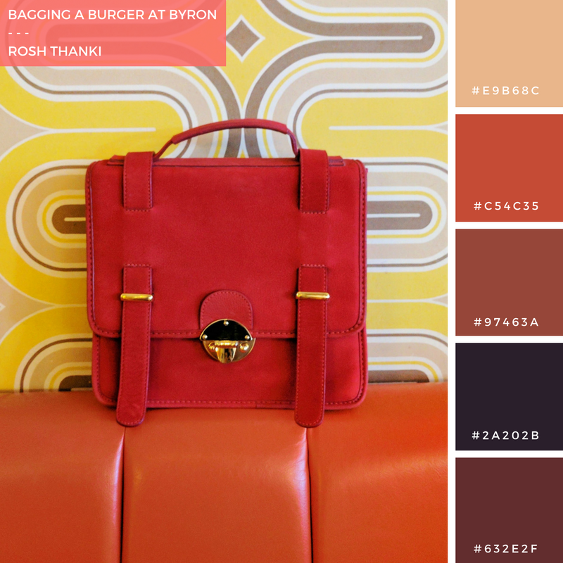 Colour Palette for Bagging a Burger at Byron by Rosh Thanki, MySuelly bag in front of funky 70s retro wallpaper