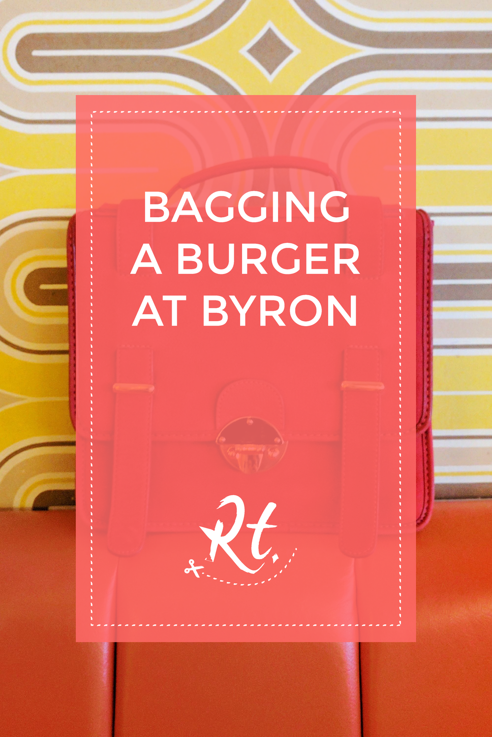 Bagging a Burger at Byron by Rosh Thanki, MySuelly bag in front of funky 70s retro wallpaper