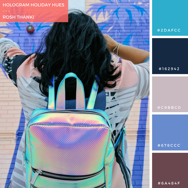Colour Palette for Hologram Holiday Hues by Rosh Thanki, purple palm trees mural at the pergola on the roof, skinnydip bag and asos shirt