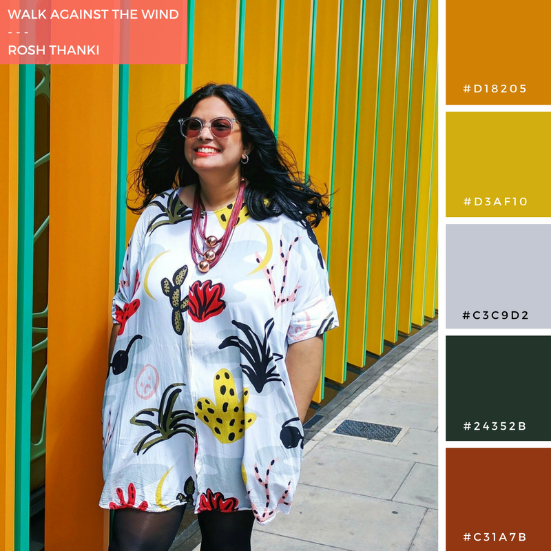 Colour Palette for Walk Against the Wind by Rosh Thanki, wearing monki dress