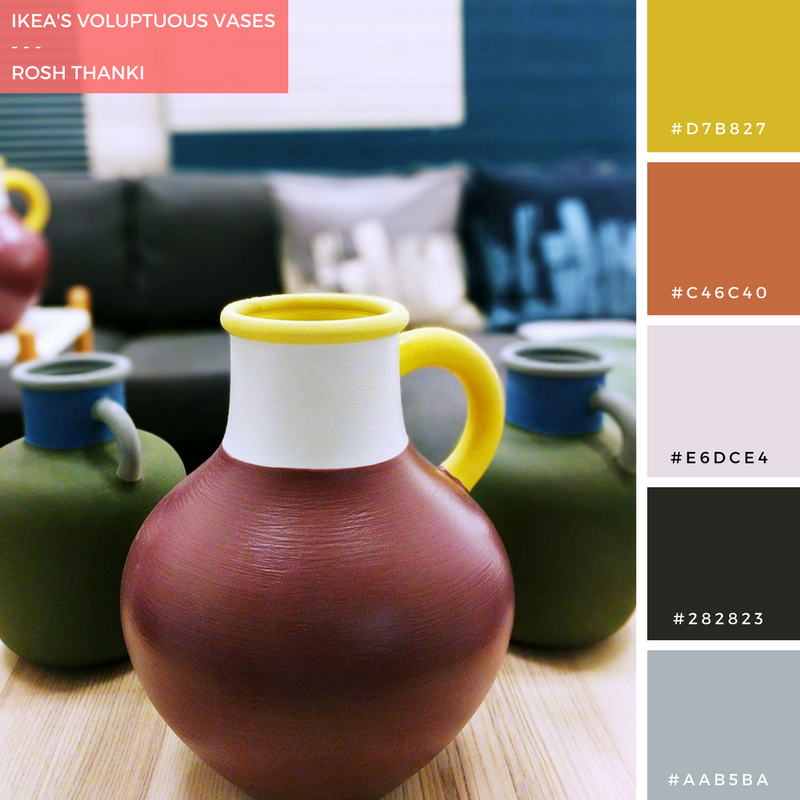 Colour Palette for IKEA's Voluptuous Vases by Rosh Thanki, Scandinavian 2018 range