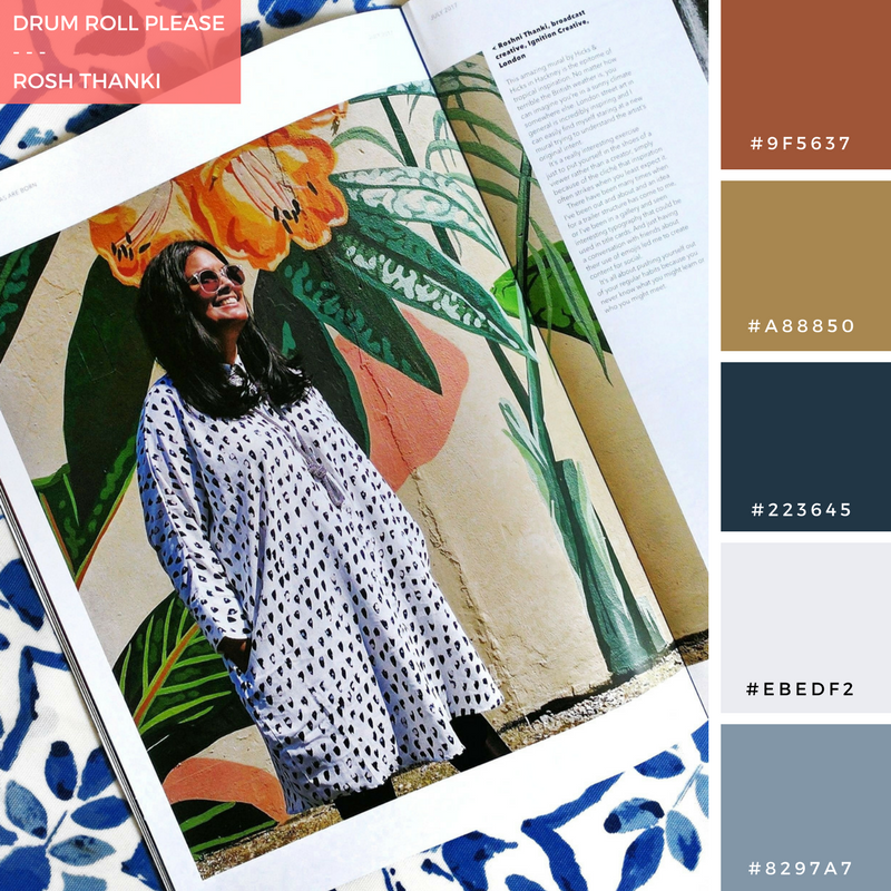 Colour Palette for Drum Roll Please by Rosh Thanki, The Drum Magazine article flat lay