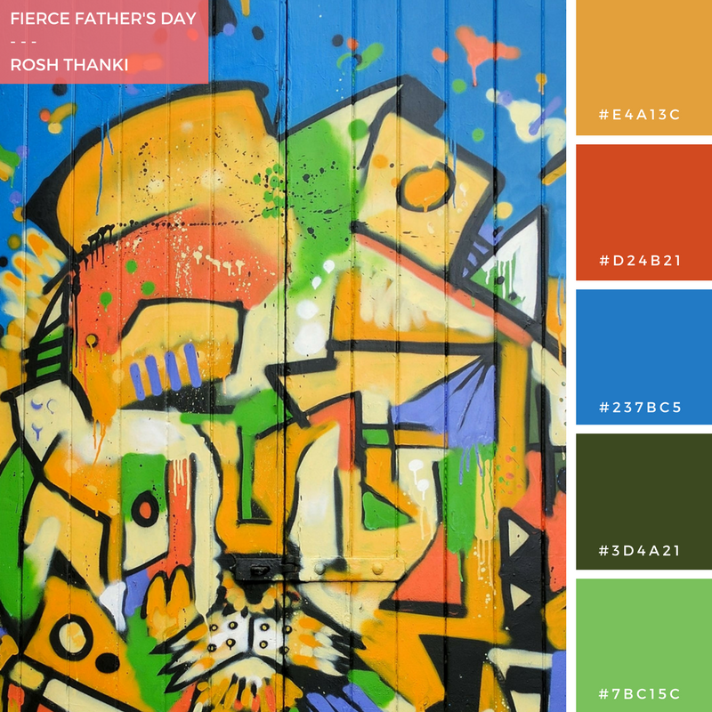 Colour Palette for Fierce Father's Day by Rosh Thanki, Decolife lion mural in Camden
