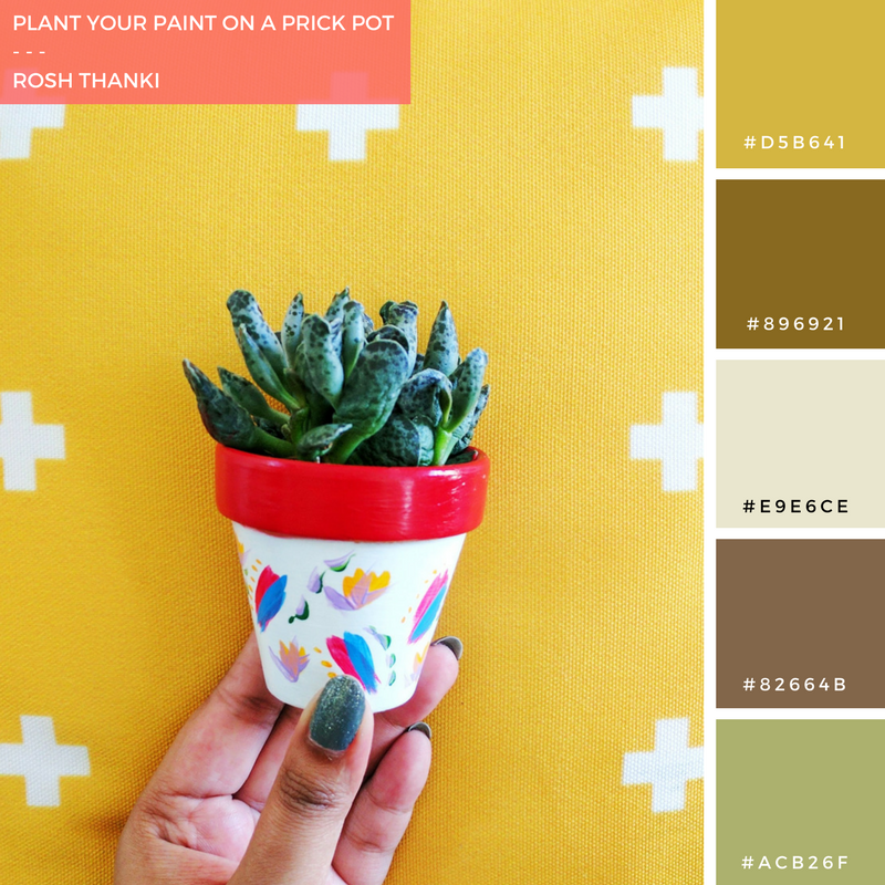 Colour Palette for Plant Your Paint on a Prick Pot by Rosh Thanki, Prick LDN plant pot decorated using Reeves paints