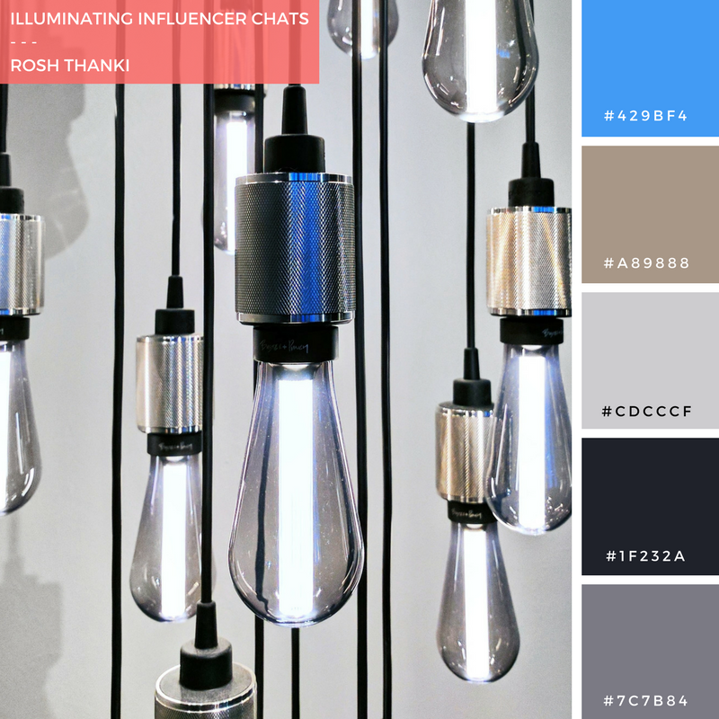 Colour Palette for Illuminating Influencer Chats by Rosh Thanki, exposed hanging bulbs from Buster and Punch