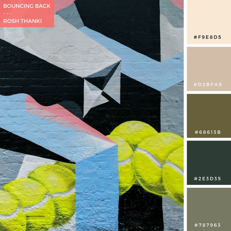 Colour Palette for Bouncing Back by Rosh Thanki, Low Bros geometric mural in Shoreditch