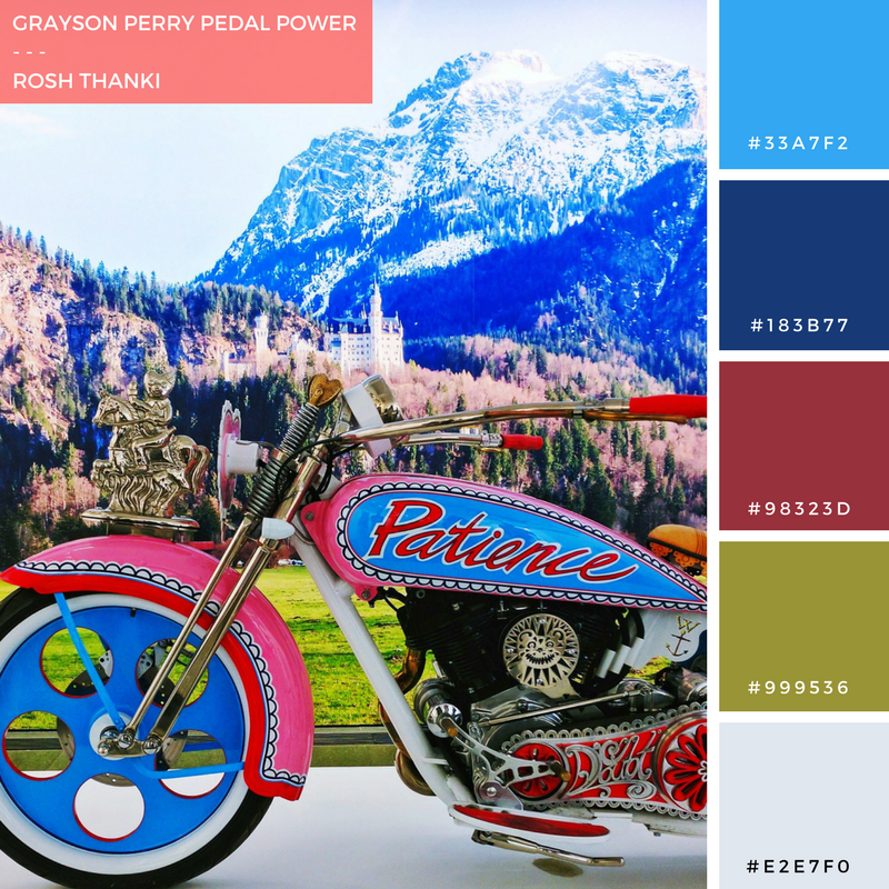 Colour Palette for Grayson Perry Pedal Power by Rosh Thanki, The Most Popular Art Exhibition Ever at Serpentine Gallery